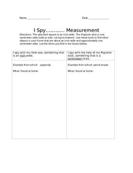 I Spy Measurement Homework