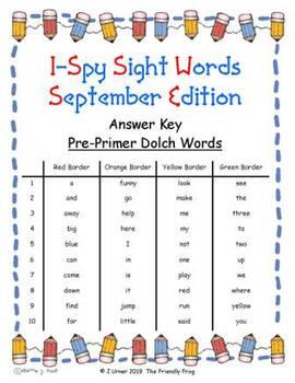 I-Spy Mirror Sight Words - PrePrimer (September Edition) Set 3