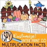 I Spy Multiplication Facts ~Fall~ CUSTOMIZABLE!