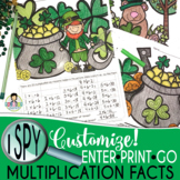 I Spy Multiplication Facts ~St. Patrick's Day ~ CUSTOMIZABLE!!