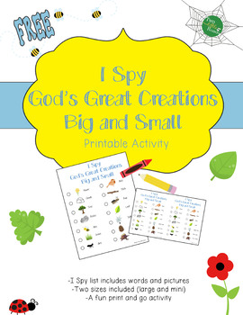 I Spy Nature Activity Printable: God's Creations Big and Small