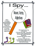 Nouns, Verbs, and Adjectives-I Spy Bookmarkers