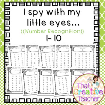 """I Spy"" Number Recognition Worksheets #1-10"