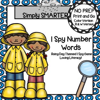I Spy Number Words:  NO PREP Rainy Day Themed I Spy Activity