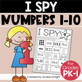 Kindergarten Math Worksheets (I Spy Numbers 1-10)