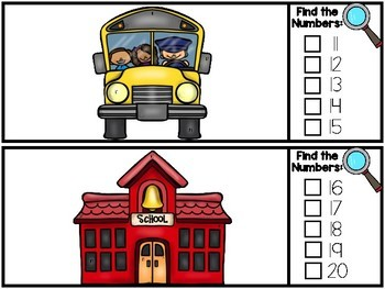 I Spy Numbers 1-20 Math Center - Back to School Edition