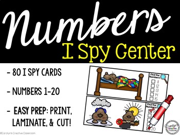 I Spy Numbers 1-20 Math Center - Groundhog Edition