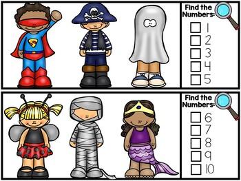 I Spy Numbers 1-20 Math Center - Halloween Edition