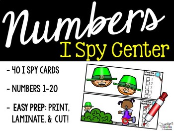 I Spy Numbers 1-20 Math Center - St. Patricks's Day Edition