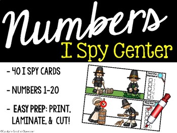 I Spy Numbers 1-20 Math Center - Thanksgiving and Pilgrim Edition