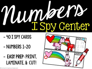 I Spy Numbers 1-20 Math Center - Valentine's Day Edition