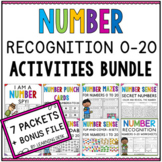 Numbers Recognition 1-20 - Number Sense Worksheets and Activities BUNDLE