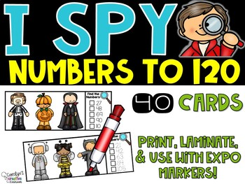 I Spy Numbers to 120 Math Center - Halloween Edition