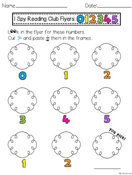 I Spy READING Club Flyers: Alphabet, Numbers & More