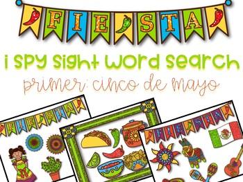 I Spy Sight Word Search: Primer Cinco de Mayo