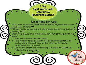 I Spy Sight Words An Interactive PowerPoint Lesson {Free}