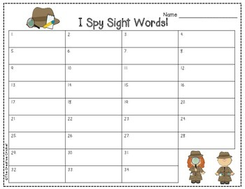 I Spy Sight Words (1st Grade Unit 2 Reading Street High Frequency Words)