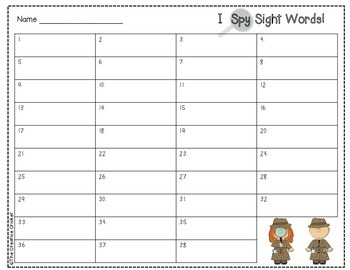 I Spy Sight Words (1st Grade Unit 3 Reading Street High Frequency Words)