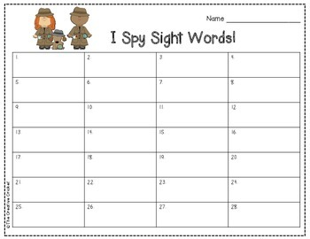 I Spy Sight Words (1st Grade Unit 5 Reading Street High Frequency Words)