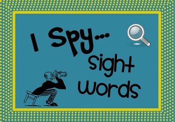 Sight Word Recognition Activity and Worksheets I Spy Sight Words