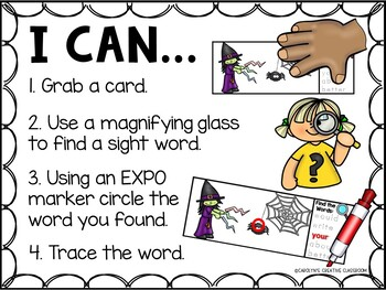 I Spy Sight Words - Dolch Sight Word Literacy Center - Halloween Version