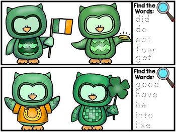 I Spy Sight Words - Dolch Sight Word Literacy Center - St. Patrick's Day Version