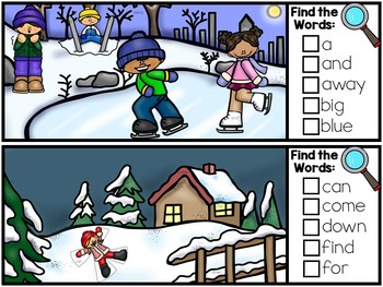 I Spy Sight Words - Dolch Sight Word Literacy Center - Winter Version