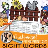 I Spy Sight Words ~ Fall~ CUSTOMIZABLE!