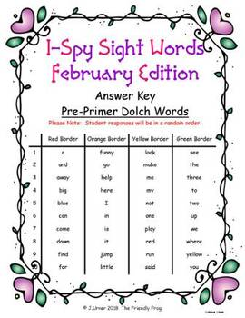 I-Spy Sight Words Fidget Spinner Fun - PrePrimer Words (February Edition) Set 8