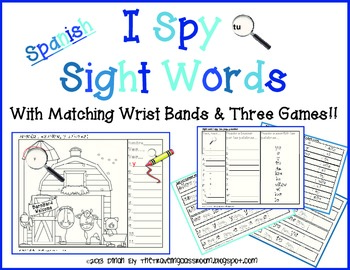 I Spy Sight Words (SPANISH) With Matching Wrist Bands and Three Games!