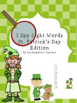 I Spy Sight Words St. Patrick's Day Edition