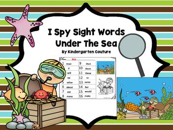 I Spy Sight Words -Under The Sea