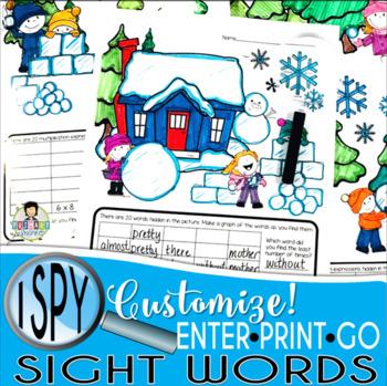 I Spy Sight Words ~Winter~ CUSTOMIZABLE!