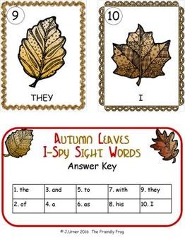 I-Spy Sight Words Word Work - Autumn Leaves (Basic Edition)