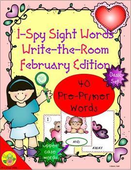 I-Spy Sight Words Word Work - PrePrimer Words (February Edition) Basic