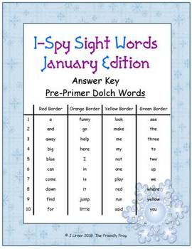 I-Spy Sight Words Word Work - PrePrimer Words (January Edition) Basic