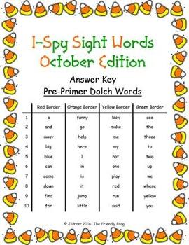 I-Spy Sight Words Word Work - PrePrimer Words (October Edition) Basic