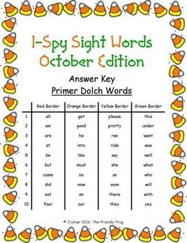 I-Spy Sight Words Word Work - Primer Words (October Edition) Basic