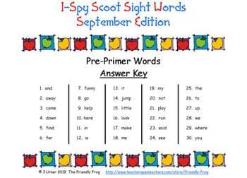 I-Spy Sight Words Words Scoot -- PrePrimer (September Edition)