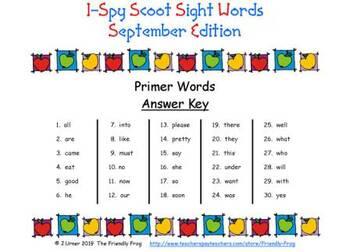 I-Spy Sight Words Words Scoot -- Primer (September Edition)