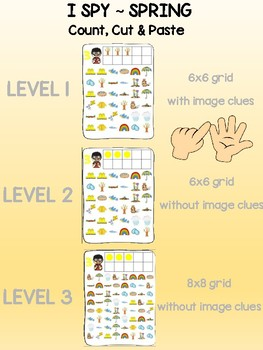 I Spy - Spring - Math - Count, Cut & Paste activity mats and worksheet