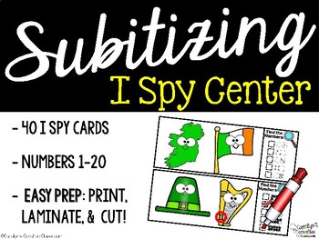 I Spy Subitizing and Numbers 1-20 Math Center - St. Patrick's Day Edition