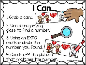 I Spy Subitizing and Numbers 1-20 Math Center - Valentine's Day Edition