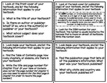 I Spy: Textbook Mini-Investigation Cards - REFERENCE MATERIALS