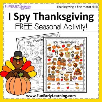 I Spy Thanksgiving - Free Printable