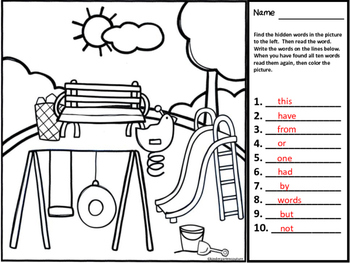 I See Tiny Sight Words And Hidden Pictures