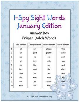 I-Spy Tiny Sight Words - Primer Words (January Edition) Set 1