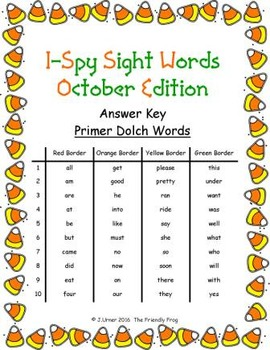 I-Spy Tiny Sight Words - Primer Words (Oct. Edition) Set 1