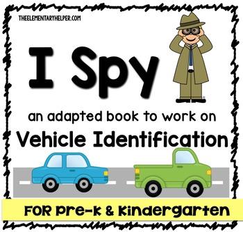 I Spy: Vehicle Identification Adapted Book for Preschool and Kindergarten
