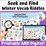 Seek and Find Winter Vocabulary I Spy Riddles Boom Cards™ Speech Language Game